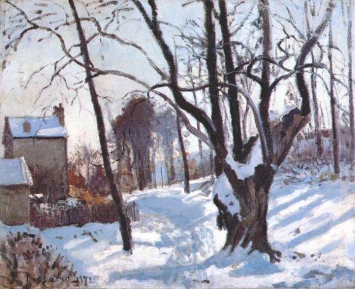Camille Pissarro (1830-1903), Chemin de Creux, neige (1872)