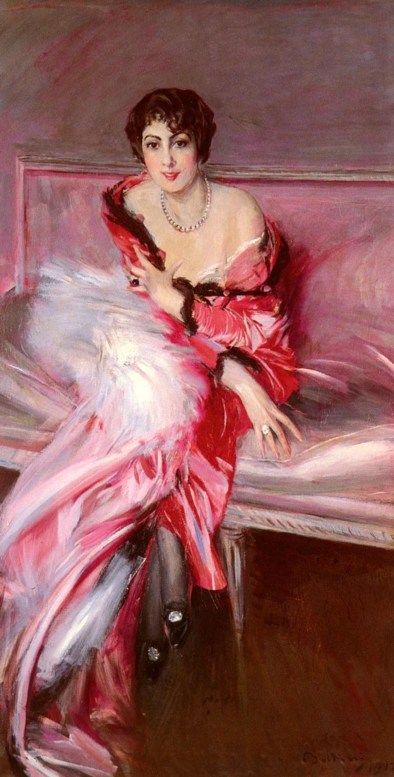 Portrait Of Madame Juillard In Red - 1912 - Giovanni Boldini