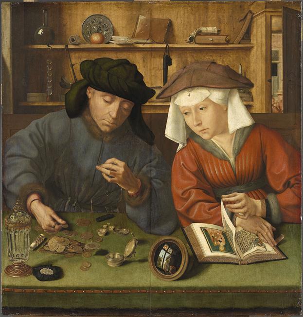 """Quentin Massys, """"Il cambiavalute e la moglie"""", 1514"""