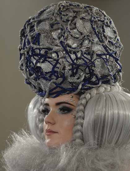 A MODEL DURING THE THE IRISH HAIRDRESSING CHAMPIONSHIPS 2015 ON MARCH 29, 2015 AT THE DOUBLE TREE BY HILTON HOTEL IN DUBLIN, IRELAND. (PHOTO BY ARTUR WIDAK/NURPHOTO) - 2015, DUBLIN, IRELAND, IRISH, MODEL, FASHION, HAIRDRESSING CHAMPIONSHIPS,