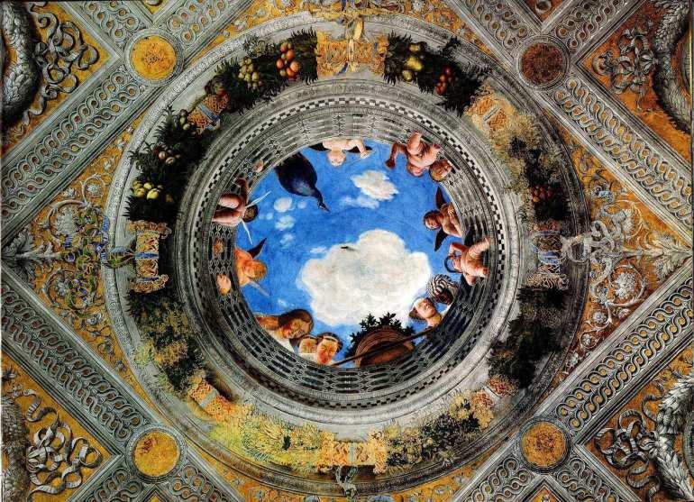 Andrea Mantegna, Decorazione soffitto della Camera degli Sposi, Castello di San Giorgio, Mantova, 1495-1474 - da ArtSpecialDay