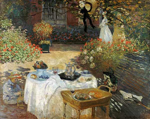 Claude Monet, 1873, Il Pranzo - nel giardino di Monet a Argenteuil
