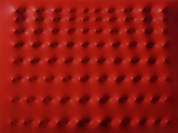 Enrico Castellani, «Superficie rossa» acrilico su tela, 2010