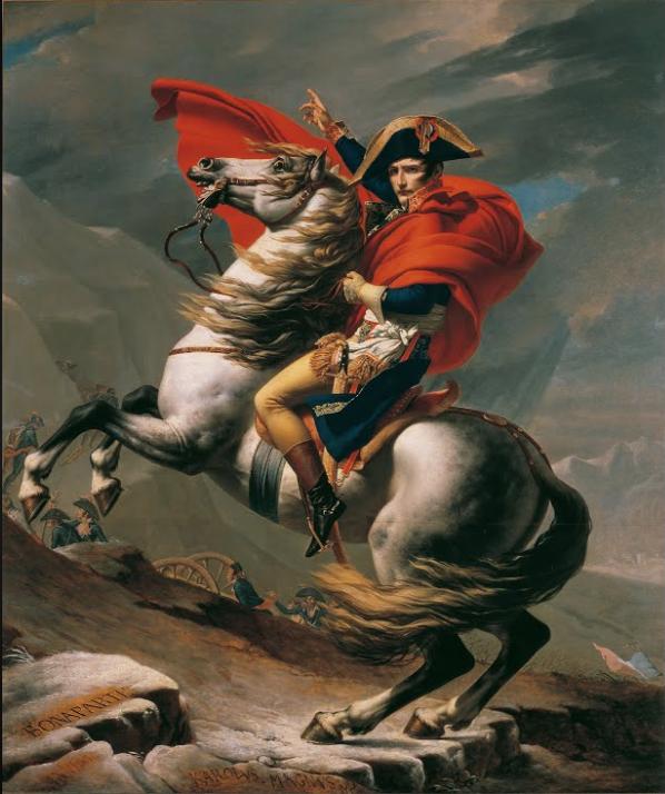 """JACQUES-LOUIS DAVID """"NAPOLEONE CHE ATTRAVERSA LE ALPI"""" 1801 - da Tes"""