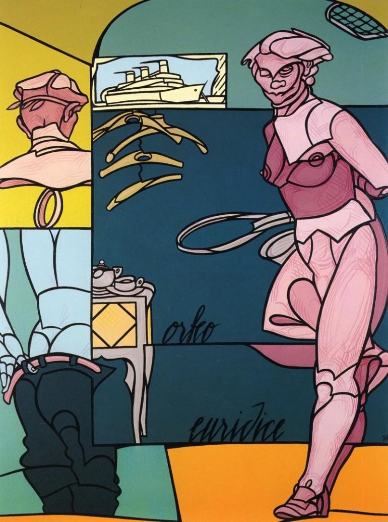Valerio Adami - Au Vestiaire , 1998 , acrilico su tela , 198 x 147 cm - da Mazzoleni Art