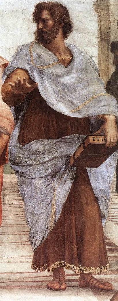 Aristotele. Dettaglio dalla Scuola di Atene di Raffaello Sanzio (1509) - da Wikipedia