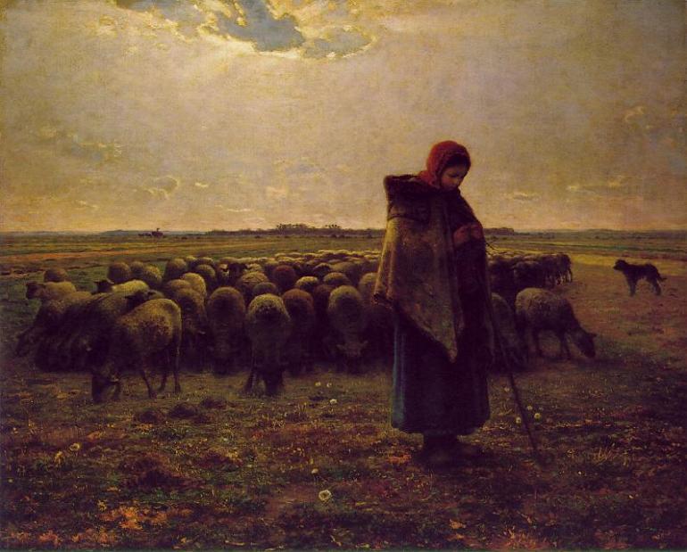 Jean-François Millet, Pastorella con il suo gregge, 1864 - DA wIKIPEDIA