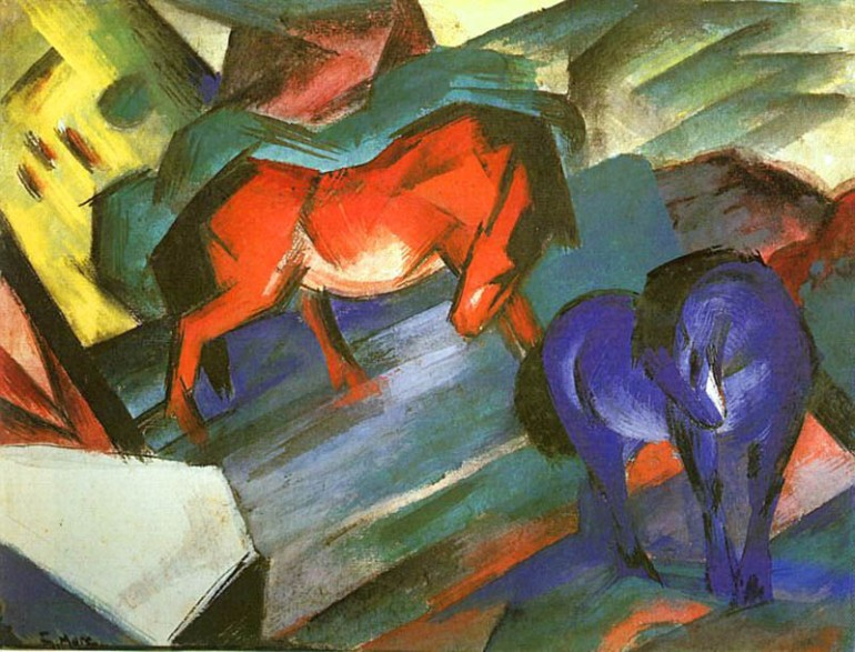 Red and Blue Horse, Franz Marc, 1912 - da Antiquariato