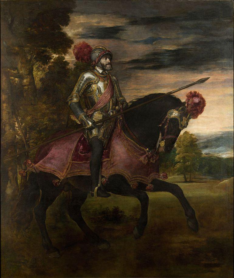 Tiziano Vecellio, Ritratto di Carlo V a cavallo, 1548, - da Wikipedia