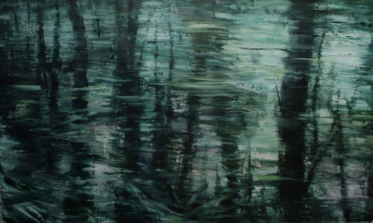 Bosco - passaggio, 2010, olio su tela, cm. 150x250 - da alessandropapetti