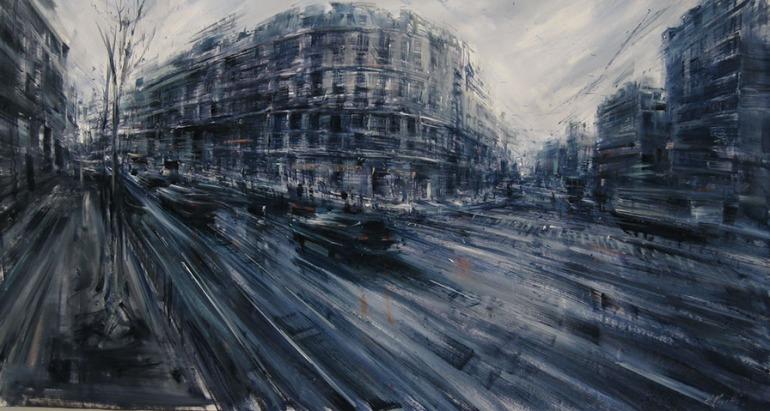 Boulevard St Germain, 2006, olio su tela, cm. 95x180 - da alessandropapetti