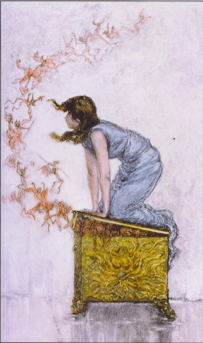F.S.Church, Pandora tenta di richiudere il vaso (che qui è una grande scatola), illustrazione del XIX secolo - da Wikipedia