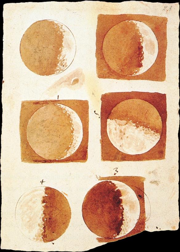 Fasi della Luna disegnate da Galileo nel 1616 - da Wikipedia