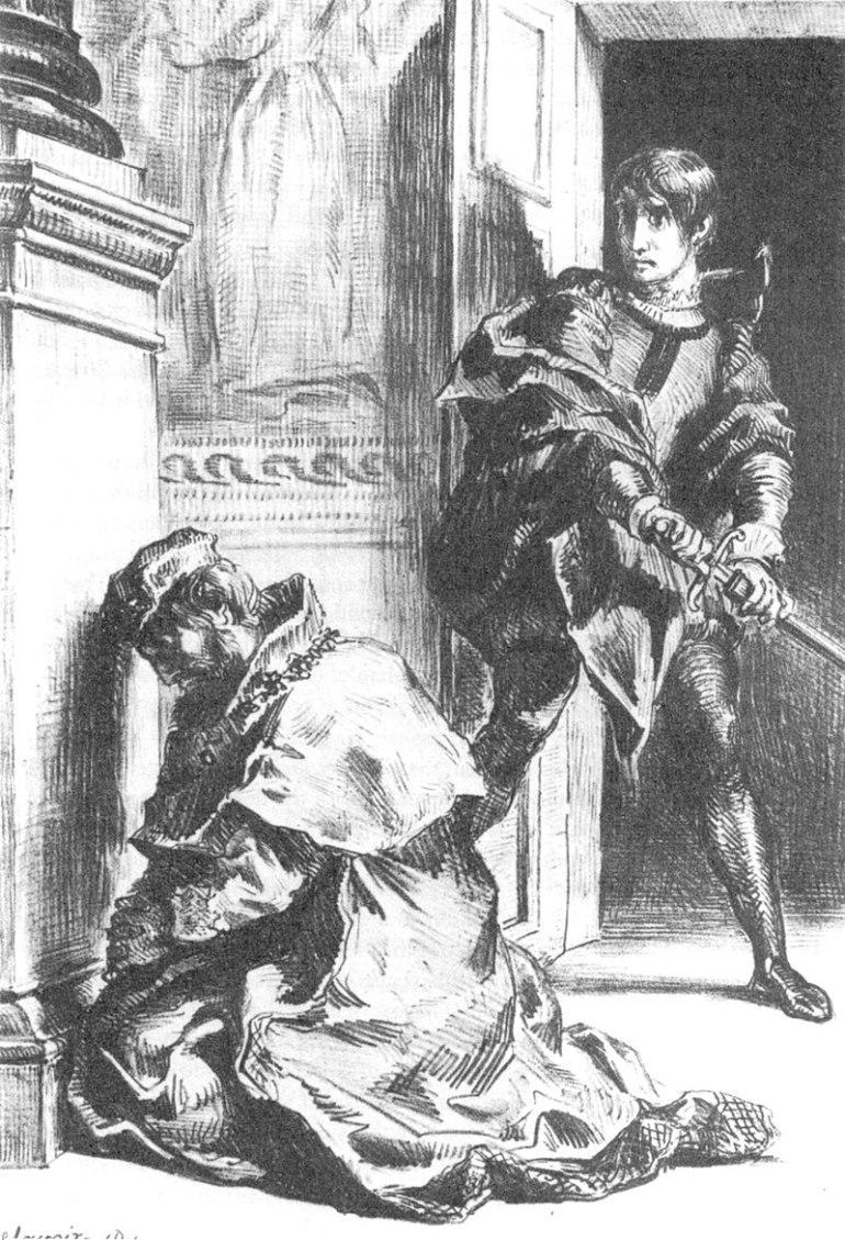 Freud suggerisce che la causa delle esitazioni di Amleto sia un inconscio conflitto edipico, Eugène Delacroix, 1844 - da Wikipedia