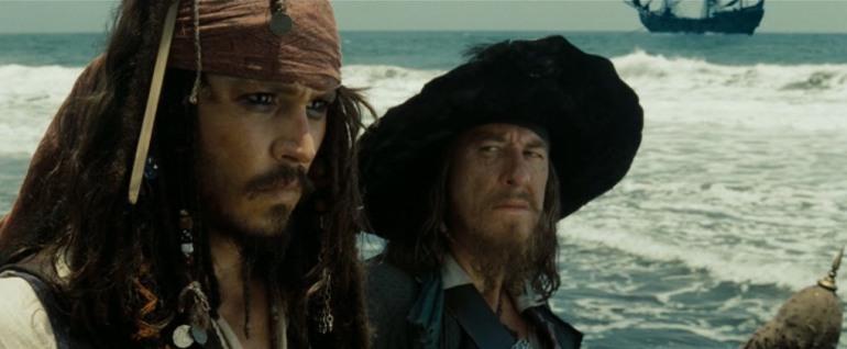 Jack Sparrow e Barbossa Arrivo a Black Sand - da pirates.wikia
