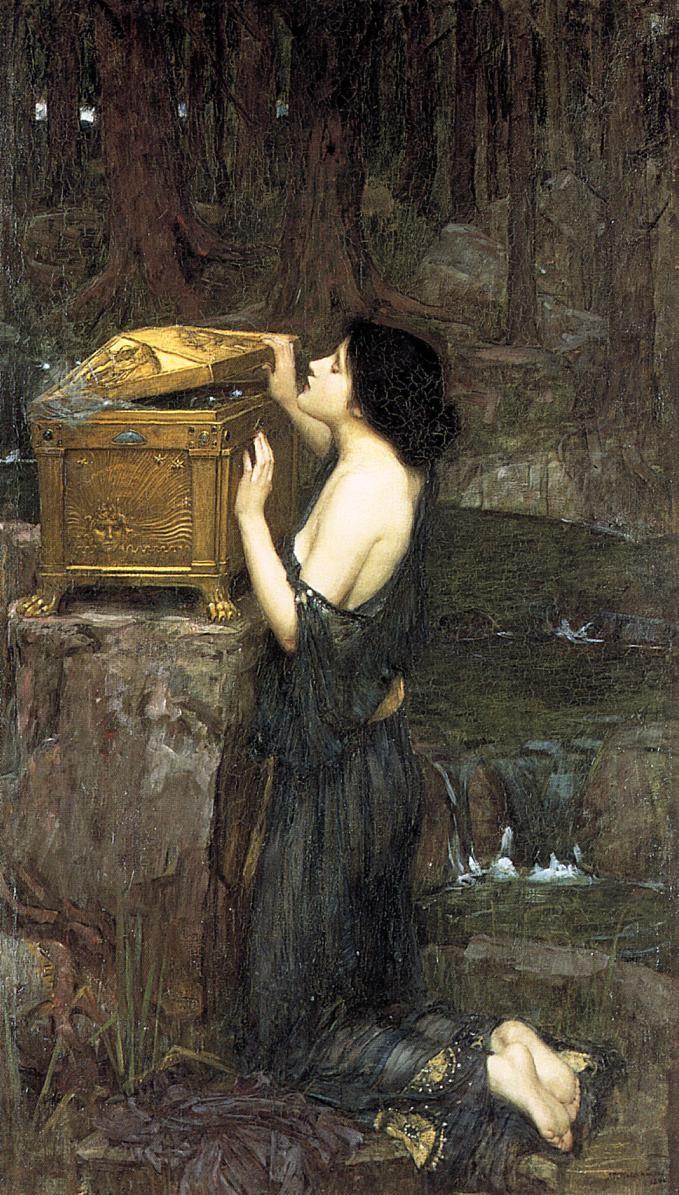 John William Waterhouse, Pandora sta per aprire il vaso, che qui è uno scrigno (1896) - da Wikipedia