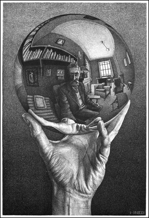 MANO CON SFERA RIFLETTENTE (Autoritratto nello specchio sferico) [M.C.Escher - 1935] - da ol blog di Chit