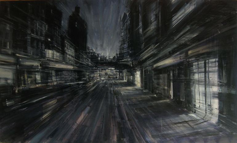New York, 2008, olio su tela, cm. 120x200 - da alessandropapetti