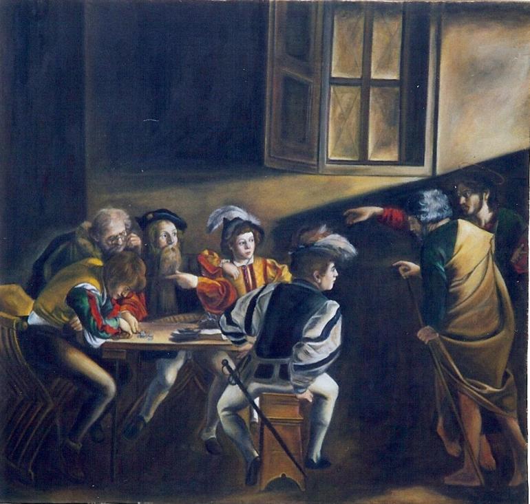 QUADRO ESEGUITO DALLA FALSI D'AUTORE GIULIO ROMANO, Vocazione di San Matteo, Caravaggio, 1557 - da Falsi d'Autore Giulio Romano