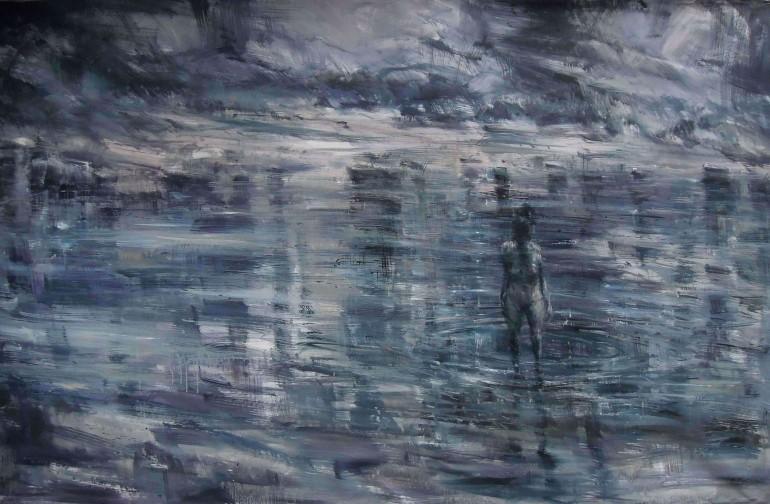 Riflessi nell'acqua immobile, olio su tela, 2012, cm. 125x200 - da alessandropapetti