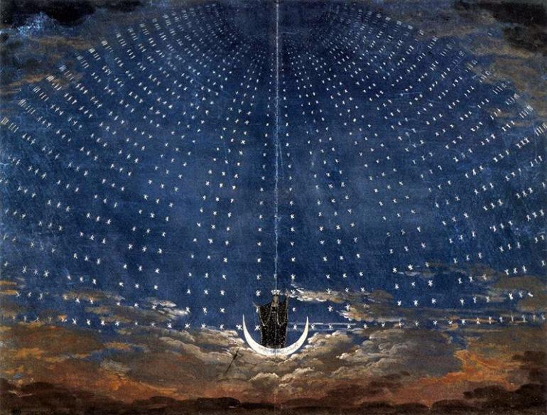 Salone delle stelle nel palazzo della Regina della Notte, Karl Friedrich Schinkel, 1815 per il Flauto Magico di Mozart - da Didatticarte