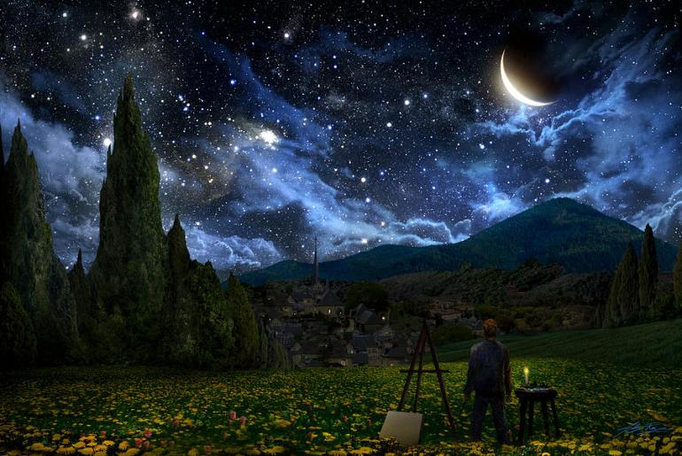 Van Gogh Digital Art - Starry Night by Alex Ruiz - da Fine Art America