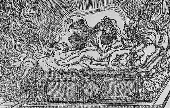 Zeus estrae Dioniso dal ventre di Semele, morta folgorata. dipinto di Ludovico Dolce, 1558. - da Wikipedia