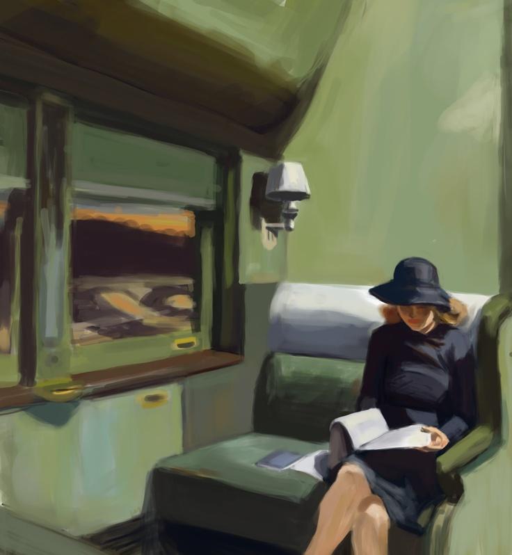 Edward Hopper, Lettrice in treno, 1965 - da libreriamo