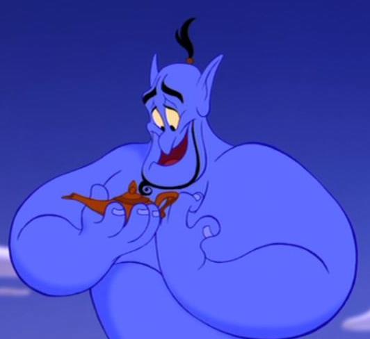 Il Genio appena liberato osserva la lampada inerte nel film Aladdin - da Wikipedia