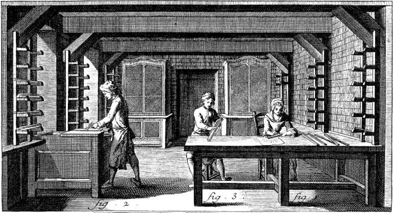 La rifinitura dei caratteri mobili - da Encyclopédie, 1763 - da Wikipedia