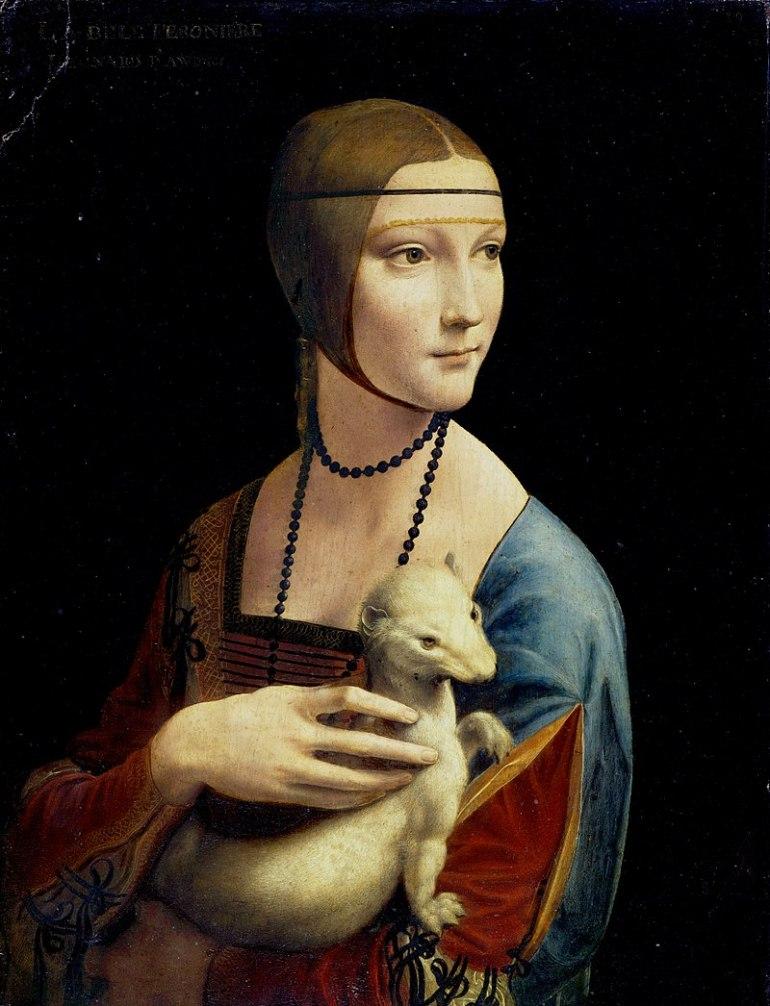 Leonardo da Vinci Dama con l'ermellino (1485), Museo Czartoryski, Cracovia - da Wikipedia