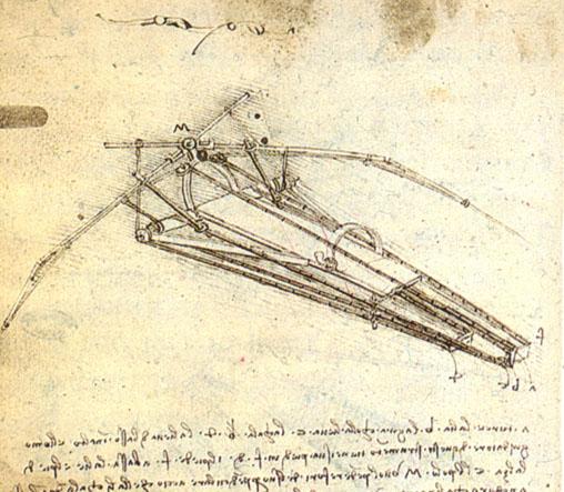 Leonardo da Vinci, Progetto di macchina volante, 1488 - da Wikipedia