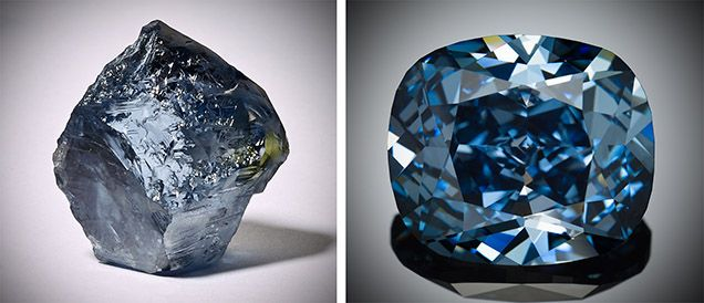 The Blue Moon diamond as the 29.62 ct rough discovered in January 2014 - da Pinterest