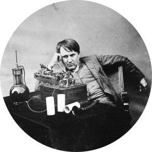 Thomas Edison e il suo fonografo, 1888 - da Wikipedia