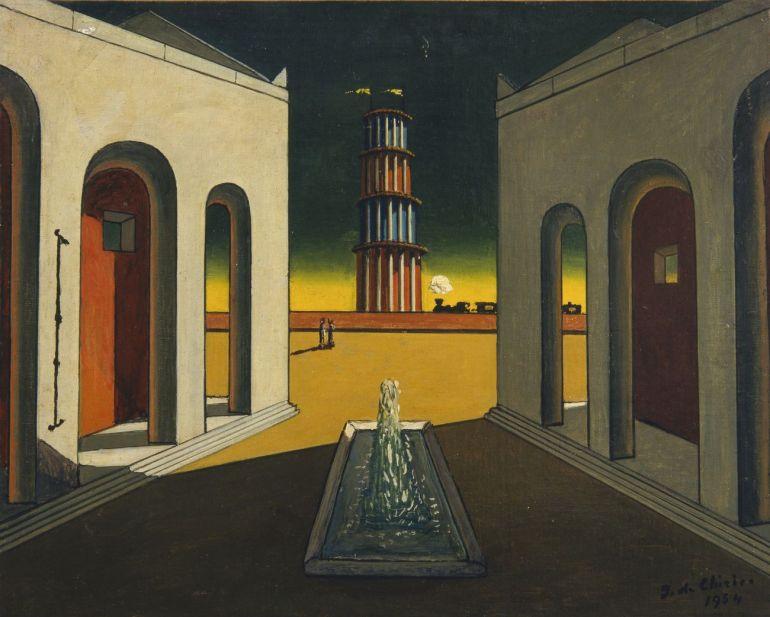 Giorgio de Chirico, Piazza d'Italia con fontana, 1968 ca. Fondazione Giorgio - da Artribune