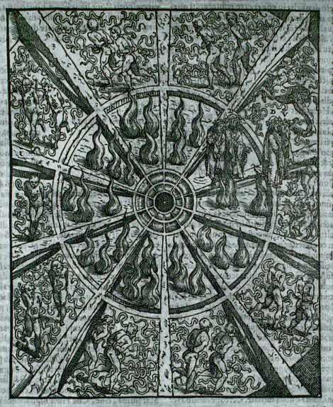 Alessandro Vellutello, illustrazione del Canto XXVI, 1534 - da Wikipedia