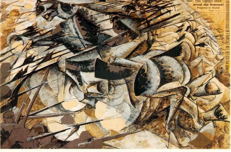 Carica dei lancieri 1915 Tempera e collage su cartone, 32 x 50 cm collezione Jucker, Milano - da Salone degli Artisti