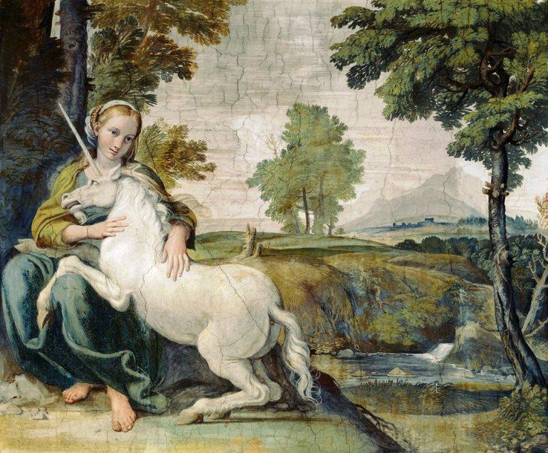 Domenico Zampieri detto il Domenichino, Vergine con unicorno, 1604, affresco,Roma, Palazzo Farnese, Galleria dei Carracci - da Stile Arte