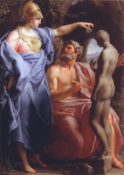 Prometeo modella l'uomo dal fango, Pompeo Girolamo Batoni, prima meta' del XVIII secolo - da La mitologia nell'Arte